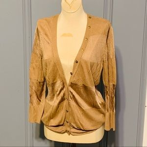 Carmel color cardigan with gold button details